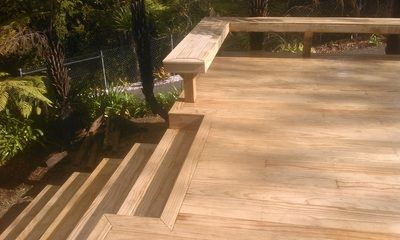 Decking steps, top step here is integrated into the deck to reduce the distance out from the deck they will end up. - Premium pine decking 32mm x 90mm.
