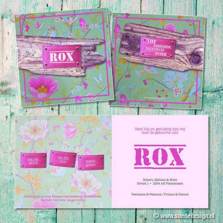 Geboortekaartje Rox - stoer - roze - bloemen - hout - labels #suededesign