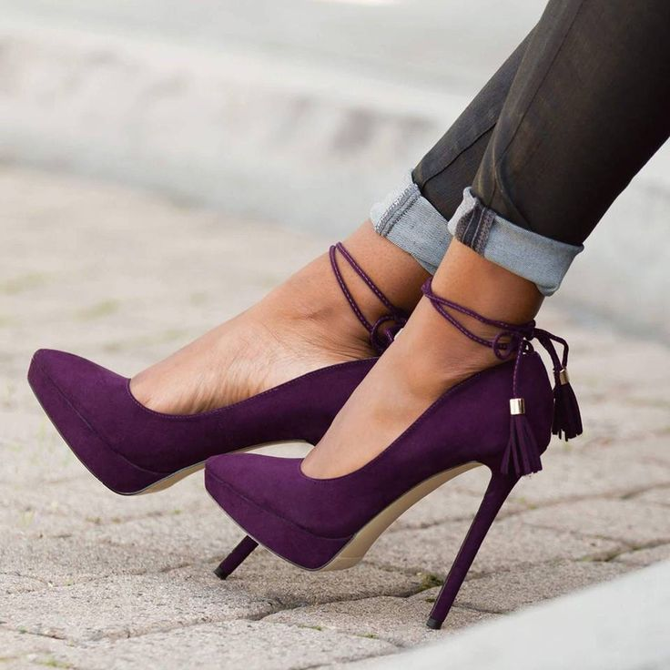 Shoespie Purple Pointed Toe Ankle Strap Stiletto Heels