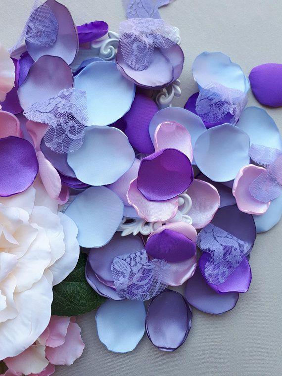 Purple Sky Blue Pink Dasty Lavander Lace Hearts Satin Petals
