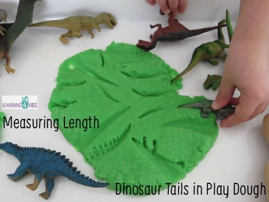 Measuring Length Dinosaur Tails in Play Dough