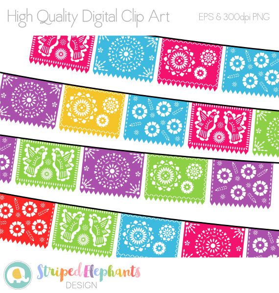 Papel Picado Clipart, Digital Fiesta Mexican Banners Clip