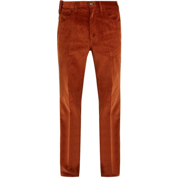 Prada Straight-leg cotton-corduroy trousers ($588) ❤ liked on Polyvore featuring men's fashion, men's clothing, men's pants, men's casual pants, orange, prada mens pants, mens wide leg pants, mens corduroy pants, mens orange corduroy pants and mens straight leg cargo pants