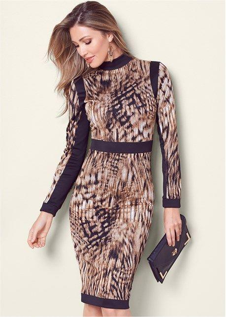 Front View Animal Print Bodycon Dress