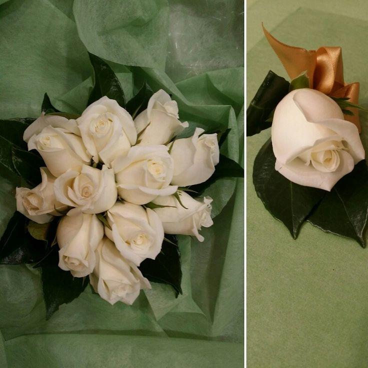 50th wedding anniversary bouquet and buttonhole  www.thepaperroseflorist.com.au