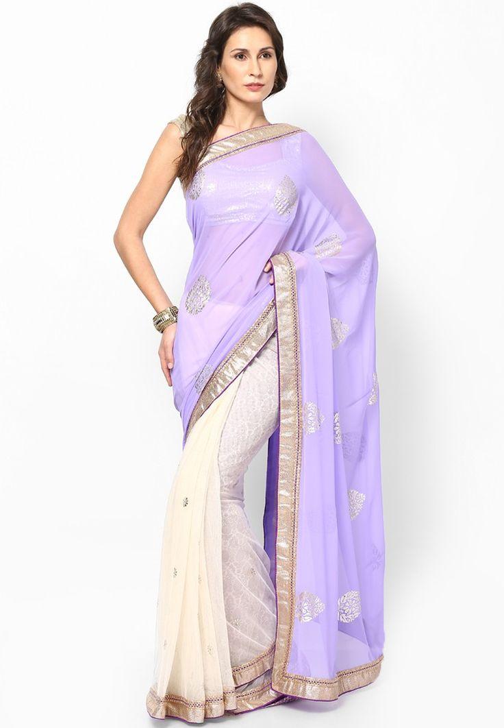 Georgette Embellished Purple Saree at $110.20 (24% OFF)