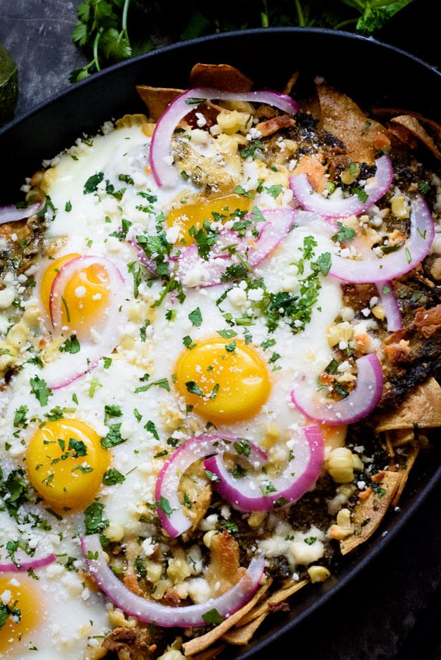 This easy chilaquiles recipe is a fantastic way to use up all those stale corn tortillas languishing in your cupboard. We added eggs, roasted corn and pickled red onion to take this to a whole new level!