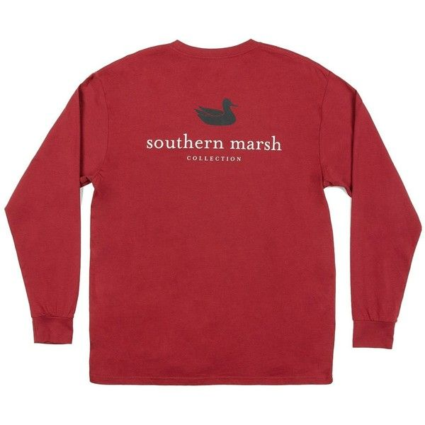 Southern Marsh Maroon Authentic Collegiate Long Sleeve T-shirt-small ($39) ❤ liked on Polyvore featuring tops, t-shirts, red t shirt, red top, red long sleeve t shirt, long sleeve tees and maroon t shirt