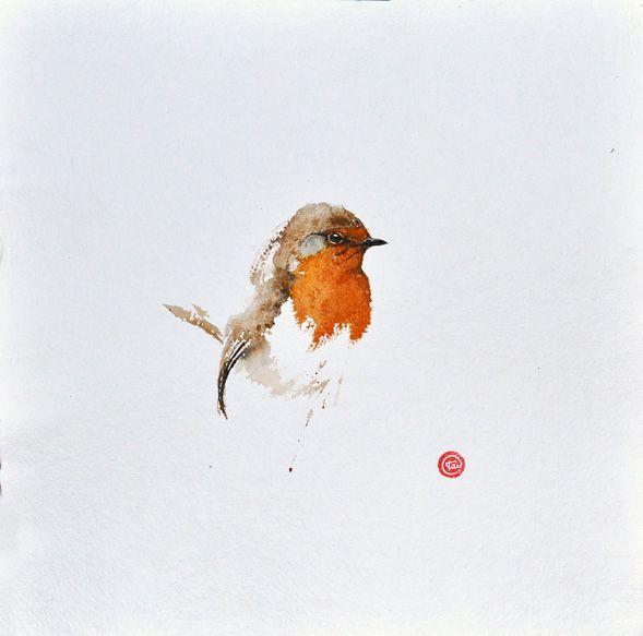 Karl Mårtens ~ robin ~  simple, yet beautiful, descriptive and expressive brushwork ~ www.karlmartens.se