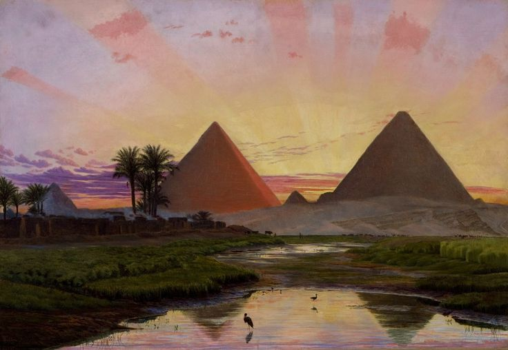 Pyramids of Gizeh, Sunset Afterglow, 1854 by Thomas Seddon (British, 1821 - 1856)