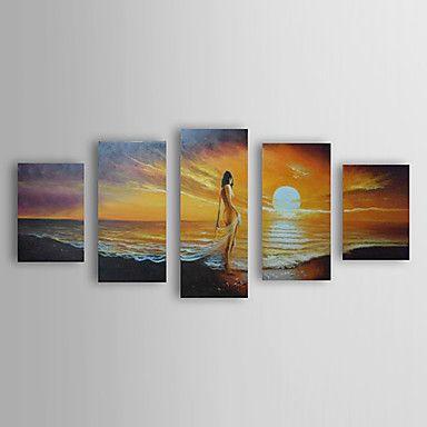 【今だけ送料無料】現代アートなモダン キャンバスアート 絵 壁 壁掛け 油絵の特大抽象画5枚で1セット ヌード 日の出 ビーチ 女体美 夕日【納期】お取り寄せ2~3週間前後で発送予定