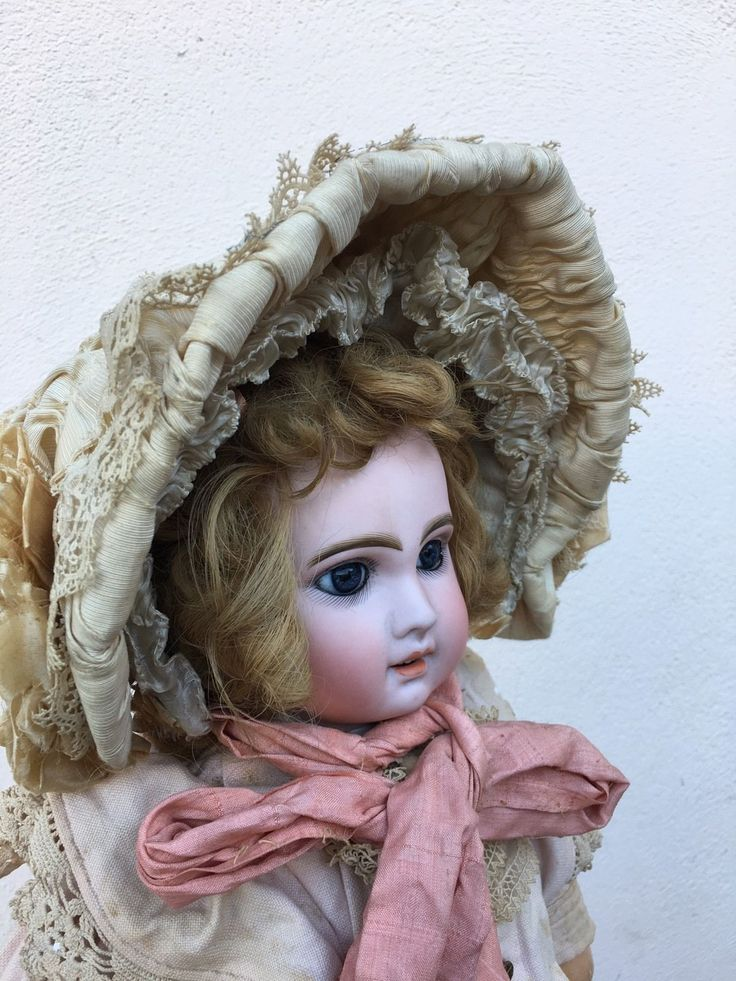 Very beautiful antique hat for bisque doll, nice condition, silk ribbon around is in used condition. I think that it will be for a doll size 12-13. | eBay!