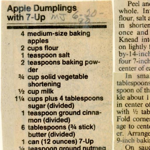 Apple Dumplings with 7-Up. :: Historic Recipe