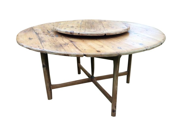 Antique Round Farmhouse Table With Lazy Susan | Chairish