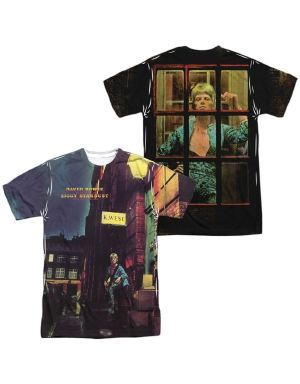 David Bowie Custom Ziggy Star Dust (Front/Back Print) Mens Regular Fit 100% Polyester Short-Sleeve
