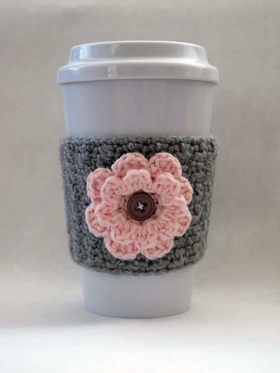 Gray and Pink Crochet Coffee Cup Flower Cozy. $8.95, via Etsy.
