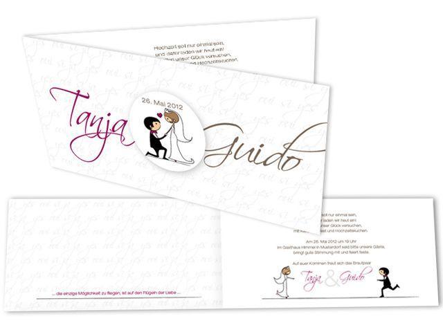 Witzige Einladungskarte Mit Hochzeitscomic. Ein Button Mit Dem Brautpaar  Als Comic Zieht Sich Durch Dieses Charmante Hochzeitskarten Set.