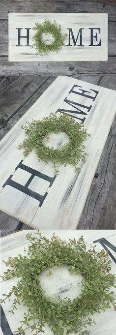 Let's celebrate your home! This large wooden home wreath sign is just the smile your walls are looking for. A simple and delightful sign to hang above your couch, over a bed, or to add as the focal point of a gallery wall, you'll love how lightweight and easy it is to hang. The little touch of greenery adds an extra touch of charm to go with your lovely farmhouse style. #home #homesign #farmhouse #farmhousesign #farmhousedecor #farmhousestyle #fixerupperstyle #gallerywall #rusticsign #ad