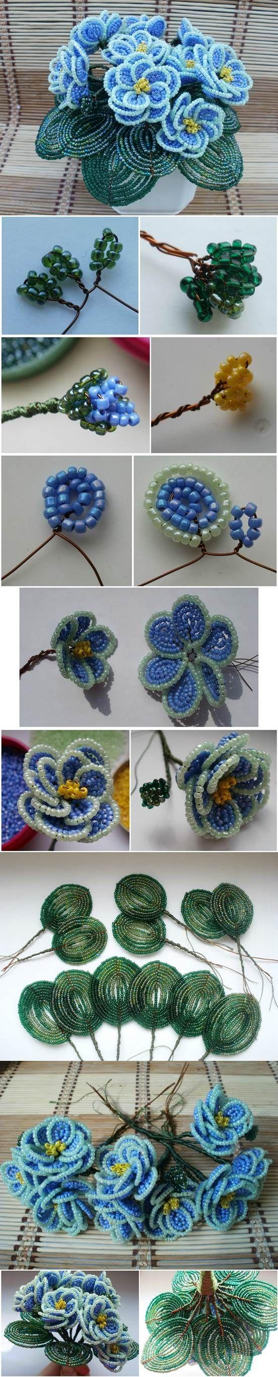 DIY Beaded Violet Flower Bouquet | iCreativeIdeas.com Like Us on Facebook ==> https://www.facebook.com/icreativeideas
