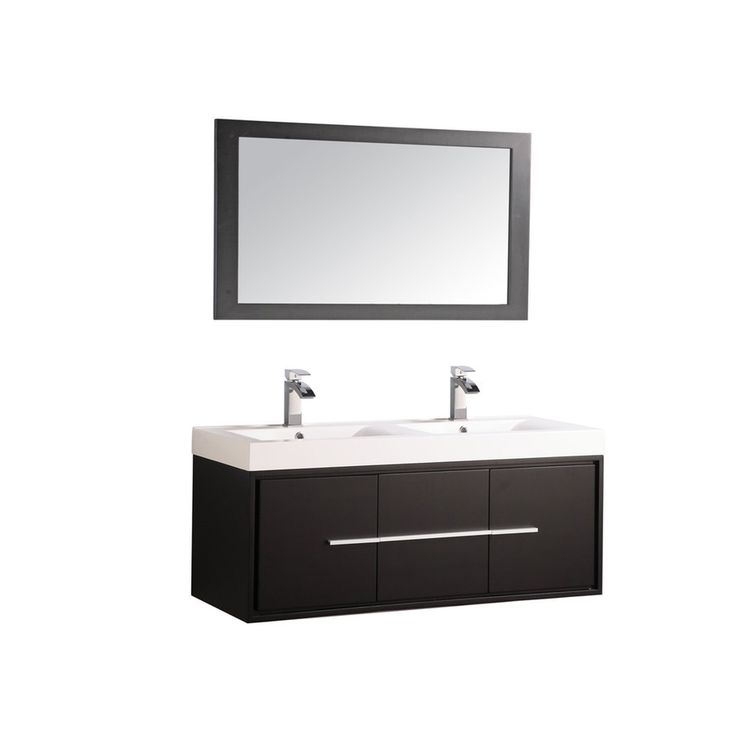 MTD Vanities Cypress Espresso Integral Double Sink Oak Bathroom Vanity with Acrylic Top (Faucet and Mirror Included) (Common: 48-in x 18-in; Actual: 48-in x 18-in)