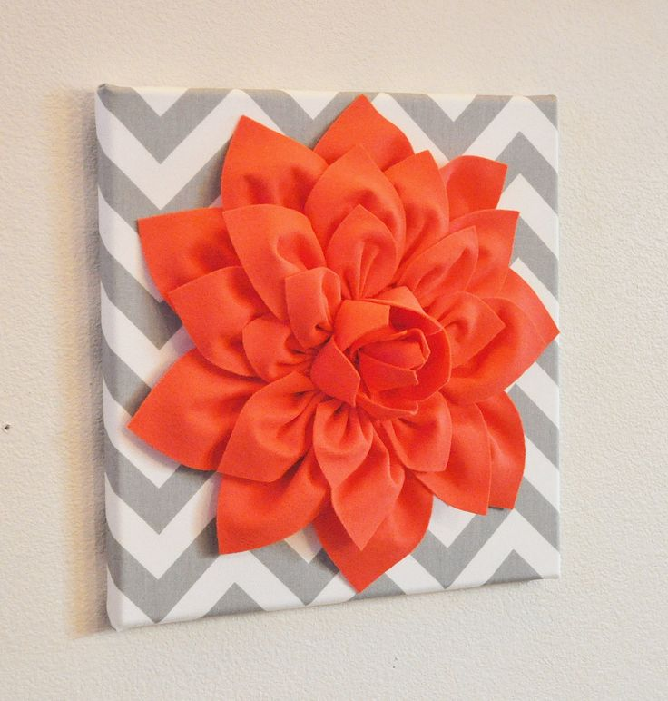 Wall Flower Decor Coral Dahlia on Gray and White chevron. Erika's new room?