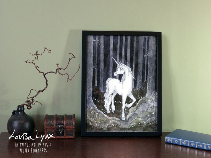 "Dark unicorn art print - dark fairytale / watercolor art print / unicorn painting / kids room poster / dark unicorn art  - ""Lonely Unicorn"" / white horse #kidsroom #fairytaleforest #unicornposter #unicornartprint #unicorn #darkforestart #darkunicorn #darkfairytaleart #johnbauerart#unicornpainting #watercolorartprint"