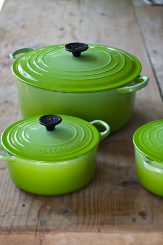 Le Creuset Dutch ovens- love the bright green
