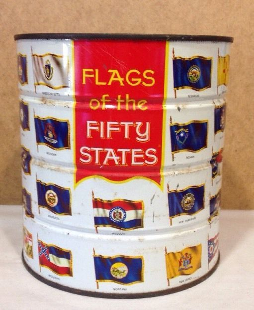 Vintage 1970 HILLS BROTHERS Flags of the 50 States Coffee Can Kitchen Decor Tin