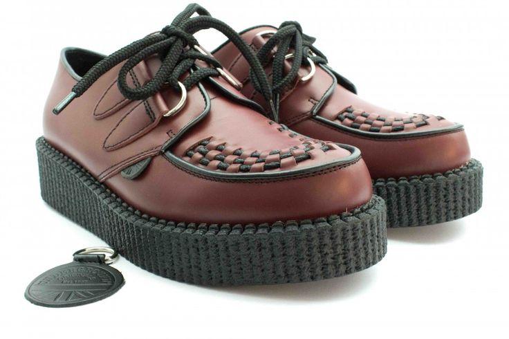 Underground scarpe creepers in pelle bordeaux immagini