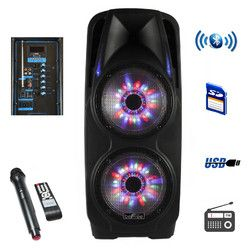 beFree Sound 2x10 Inch Woofer Portable Bluetooth Powered PA Speaker