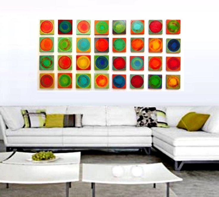 dancing circles 32 no2 32 piece collection modern mixed media on wood wall art blocks