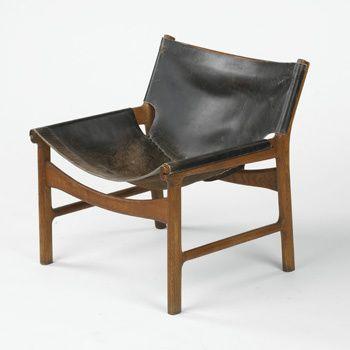 Børge Mogensen; Teak and Leather Lounge Chair, c1960.