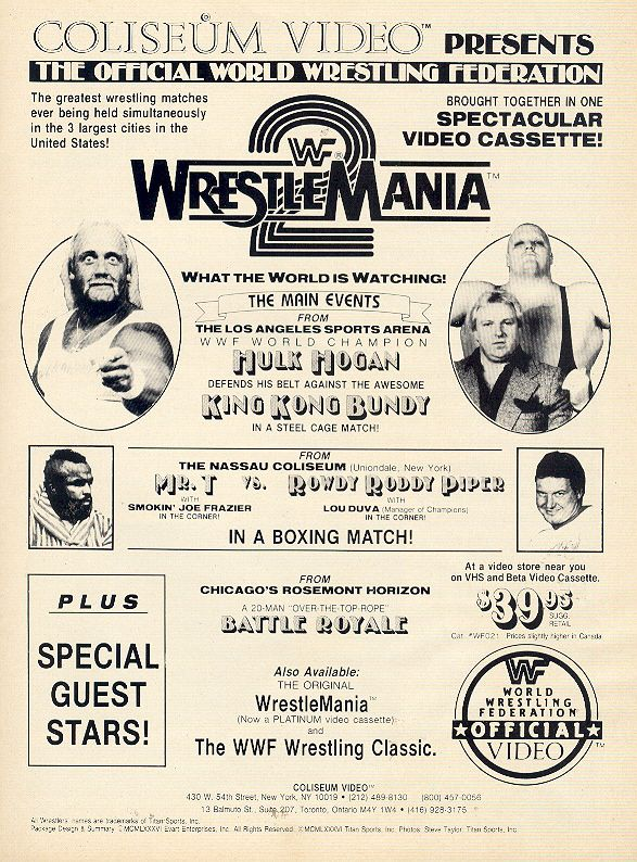Wrestlemania 2 Hulk Hogan, King Kong Bundy, Roddy Piper, Mr T, Battle Royal, Cage match, Boxing