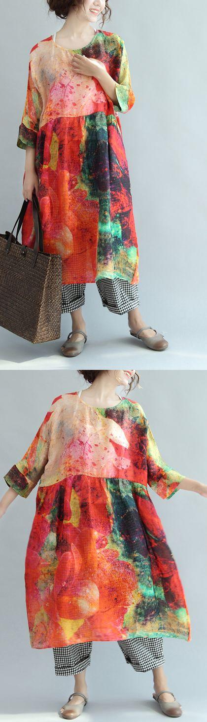 new red print plus size sundress linen casual summer dresses bracelet sleeved baggy dress 3