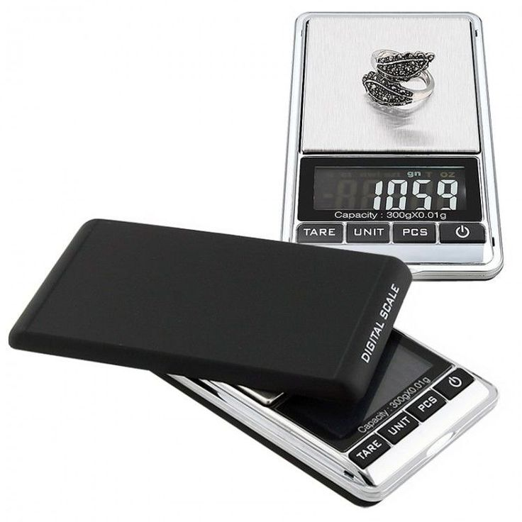 Digital Pocket Scale Weight Measuring Stainless Steel LCD Black/ Silver 10.5-oz  #INSTEN