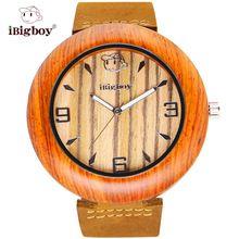 iBigboy Wooden Men Watches Super Fashion Padauk Zebrawood Retro Watch 12 Hour Luminous Analog Leather Quartz Wristwatch New Hot(China (Mainland))