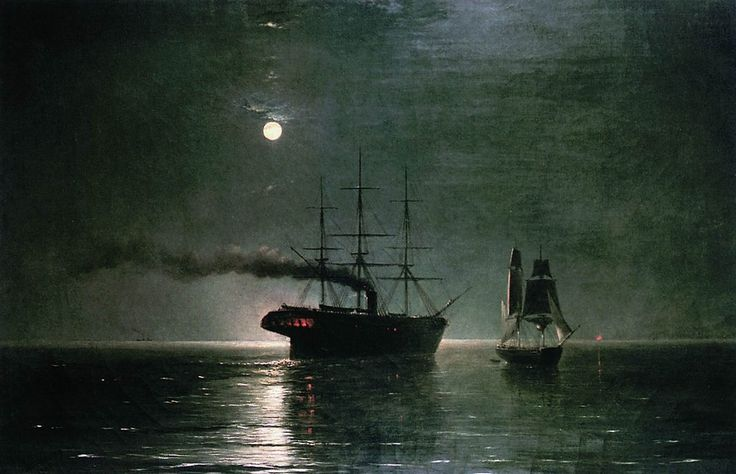 Ivan Aivazovsky - Ships in the stillness of the night, 1888