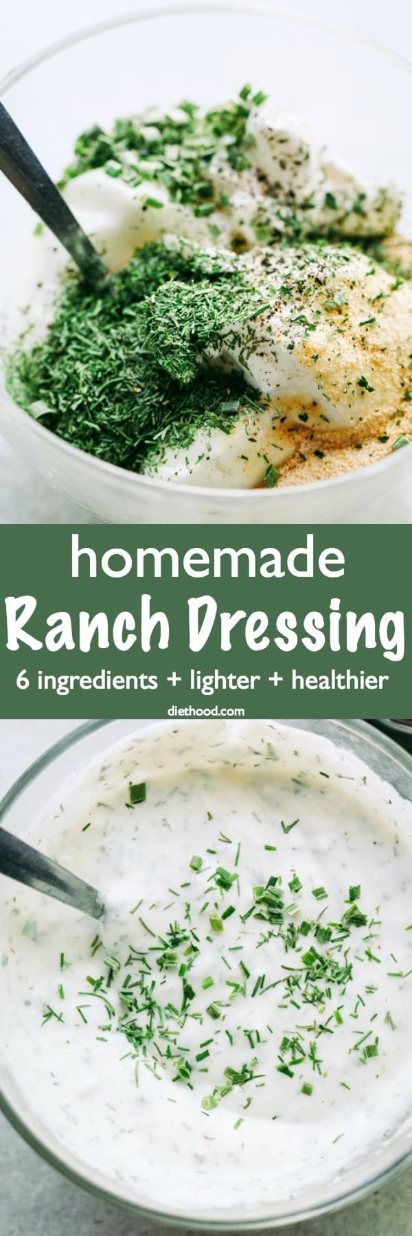 Ranch Dressing Recipe – THE BEST cool, creamy, and lightened-up Ranch Dressing prepared with delicious yogurt and a variety of seasonings.