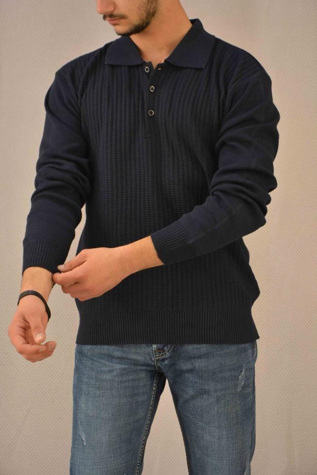 Ανδρική μπλούζα πλεκτή με γιακά  PLEK-2700-bl Πλεκτά - Πλεκτά και ζακέτες