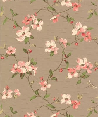 vintage wallpaper/ dogwood blossoms