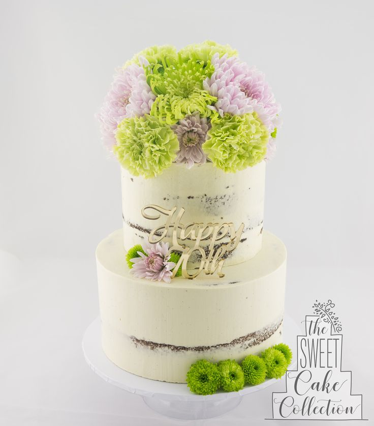 Semi Naked Cake with Pink and Green flowers