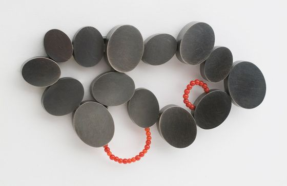 Dorothy Hogg - Brooch from the Artery Series; oxidised silver, beads