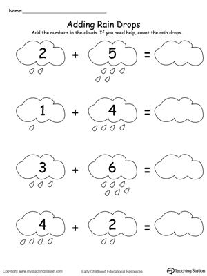 **FREE** Adding Numbers With Rain Drops Up to 9 Worksheet. Add numbers with rain drops. Sums to 9 in this printable math worksheet. #MyTeachingStation