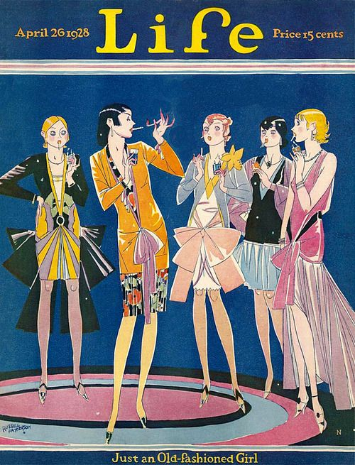 Vintage Life Magazine flappers cover, April 261928 by Russell Patterson.