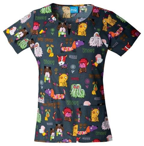 Happy Tails  Dog Print Uniform Top by Cherokee
