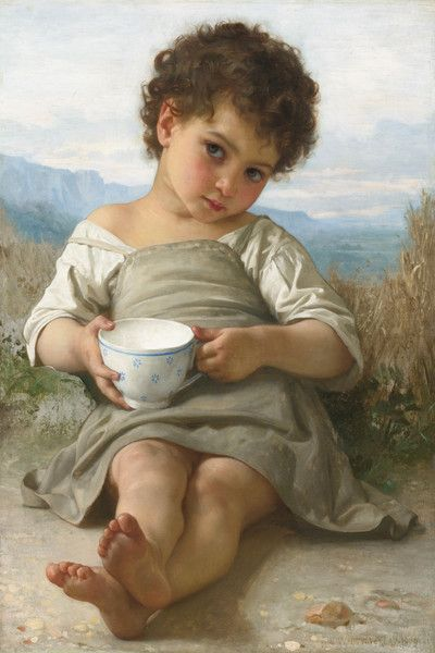 A Cup of Milk by William Bouguereau | Art Posters & Prints
