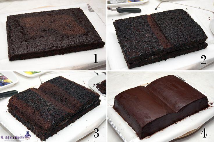 Tutorial de tarta con forma de libro | Catcakes - Repostería Creativa