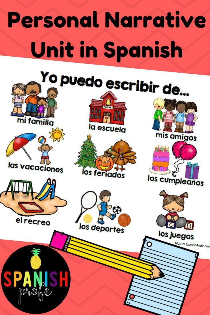 Great Personal Narrative Writing Unit In Spanish Escritura Para Primero Segundo Y Te Personal Narrative Writing Prompts Task Cards Personal Narrative Writing [ 1102 x 735 Pixel ]