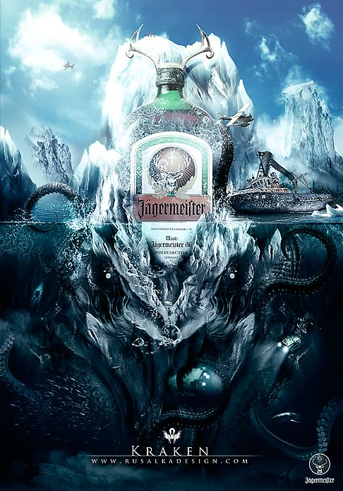 An highly detailed and animated promotional poster. Quite different from other vodka ads First illustration of a Jägermeister illustration set.
