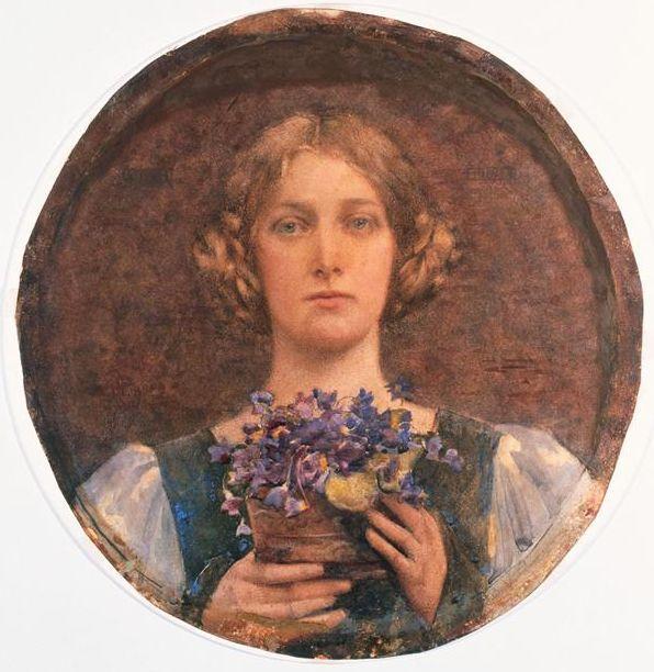 Edgar Maxence  Jeune fille au bouquet de violettes (Girl with bouquet of violets)